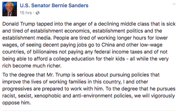 Sanders on Trump